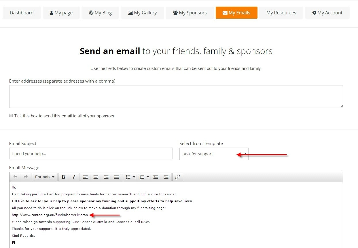 can too how to set up your fundraising page 8 thank sponsors via email