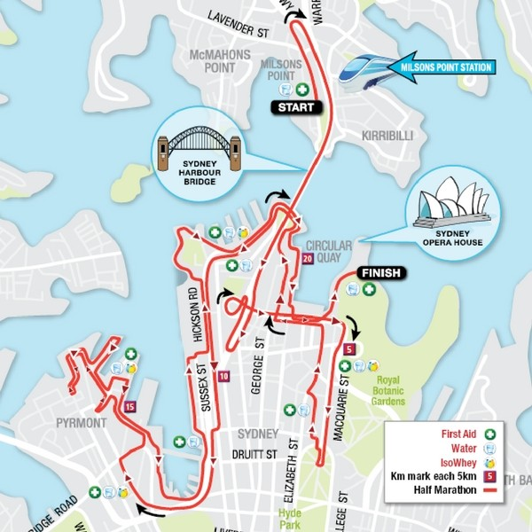 Blackmores Half Marathon Map