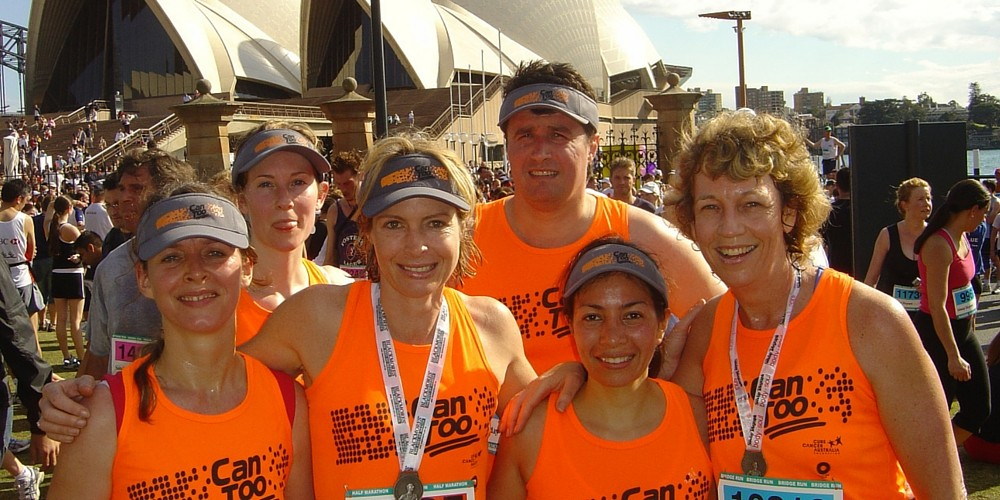 Can Too founder & chair, Annie Crawford AM, with Can too finishers at Blackmores Sydney Running Festival 2005